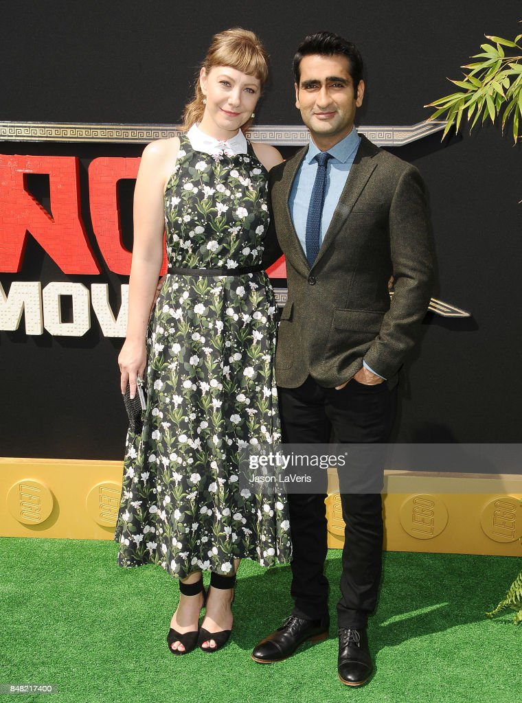 Emily V. Gordon and Kumail Nanjiani attend the premiere of 'The LEGO Ninjago Movie' at Regency Village Theatre on September 16, 2017 in Westwood, California.
