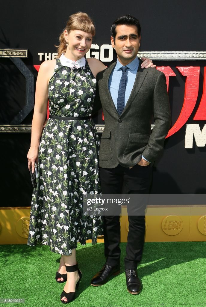 Emily V. Gordon and Kumail Nanjiani attend the premiere of Warner Bros. Pictures' 'The LEGO Ninjago Movie' on September 16, 2017 in Westwood, California.
