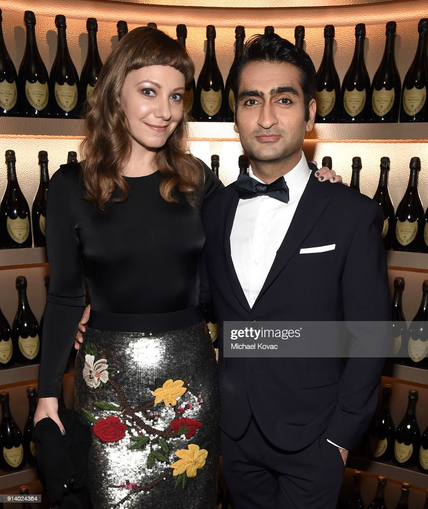 Emily V. Gordon (L) and Kumail Nanjiani visit the Dom Perignon Lounge at The Santa Barbara International Film Festival on February 3, 2018 in Santa Barbara, California.
