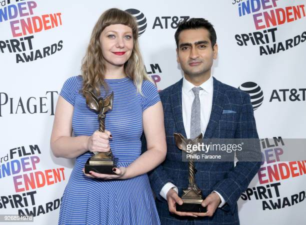 Emily V Gordon and Kumail Nanjiani winners of Best First Screenplay for 'The Big Sick' pose in the press room during the 2018 Film Independent Spirit...