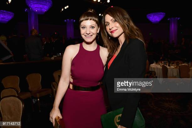 Emily V Gordon and Minnie Driver attend the 2018 Writers Guild Awards LA Ceremony at The Beverly Hilton Hotel on February 11 2018 in Beverly Hills...
