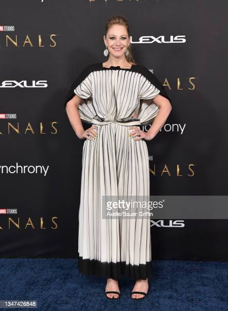 """Emily V. Gordon attends the Los Angeles Premiere of Marvel Studios' """"Eternals"""" on October 18, 2021 in Los Angeles, California."""