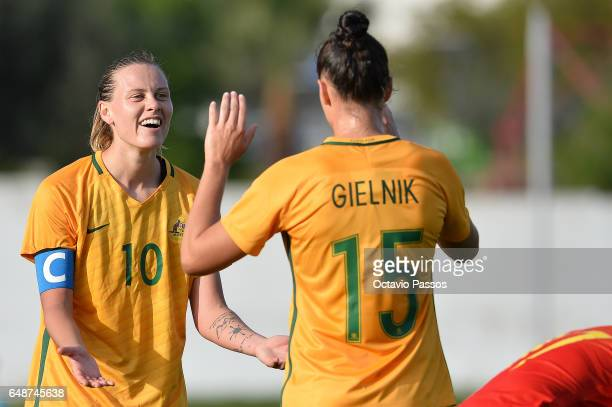 Emily Van Egmond and Emily Gielnik of Australia celebrates the victory at the end of the Women's Algarve Cup Tournament match between China and...
