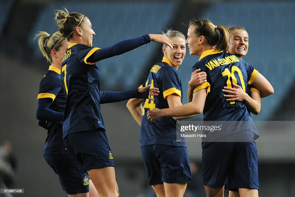 Emily van Egmond (2nd R) of Australia celebrates scoring her team's second goal with her team mates during the AFC Women's Olympic Final Qualification Round match between South Korea and Australia at Yanmar Stadium Nagai on March 4, 2016 in Osaka, Japan.