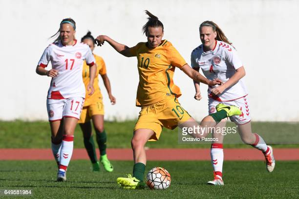Emily Van Egmond of Australia competes for the ball with Maja Kildemoes of Denmark during the Women's Algarve Cup Tournament match between Australia...