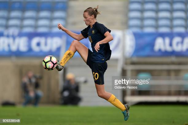 Emily Van Egmond of Australia in action during the Women's Algarve Cup Tournament match between Portugal and Australia at Algarve stadium on March 2...