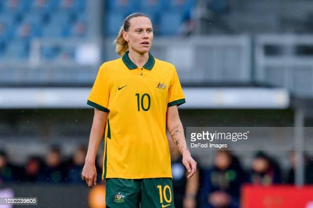 Emily Van Egmond of Australia looks on during the Women's International Friendly match between Germany and Australia at BRITA-Arena on April 10, 2021...