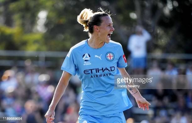 Emily van Egmond of Melbourne City FC scores a goal during the round 2 WLeague match between Canberra United and Melbourne City at McKellar Park on...