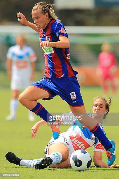 Emily Van Egmond of the Jets is tackled during the round 11 WLeague match between Melbourne Victory and Newcastle Jets at Kingston Heath Soccer...