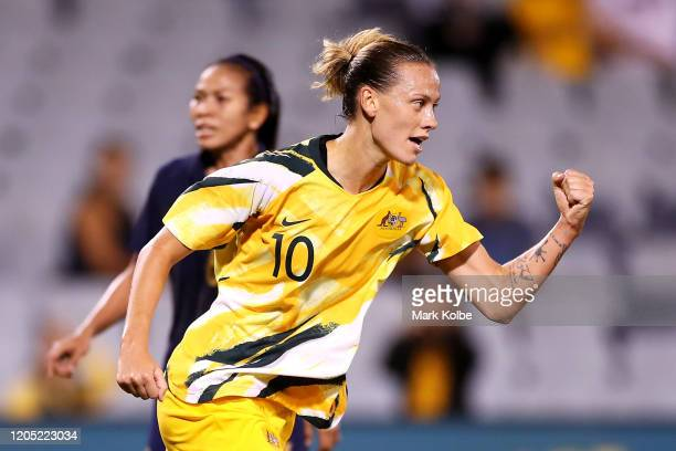 Emily van Egmond of the Matildas celebrates scoring a goal during the Women's Olympic Football Tournament Qualifier match between Thailand and the...