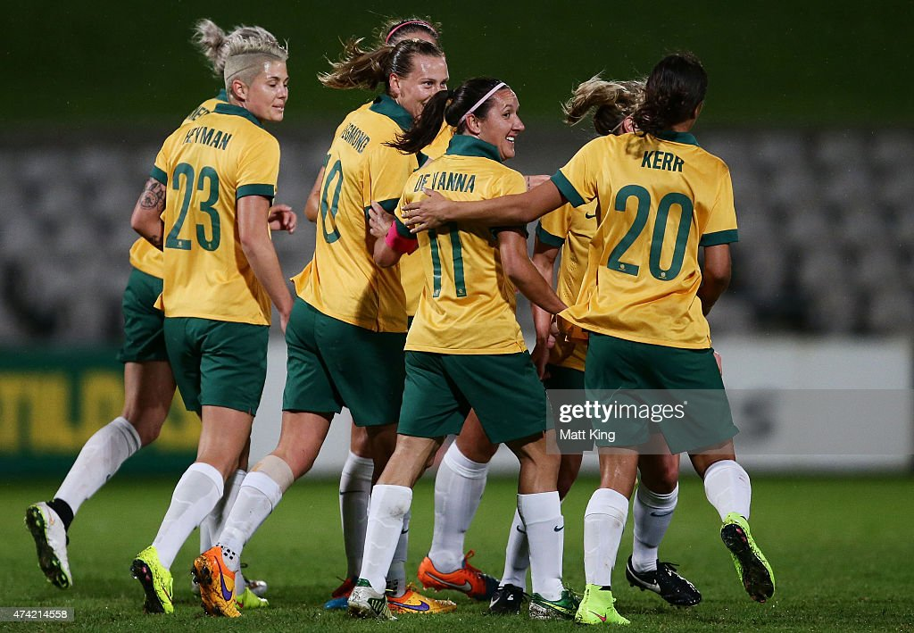Emily van Egmond of the Matildas celebrates with team mates after scoring a goal during the international women's friendly match between the Australian Matildas and Vietnam at WIN Jubilee Stadium on May 21, 2015 in Sydney, Australia.