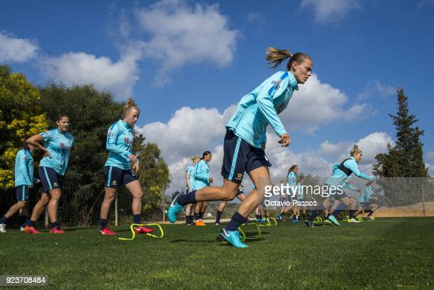 Emily van Egmond of the Matildas warm up during a Matildas training session on February 24 2018 in Faro Portugal