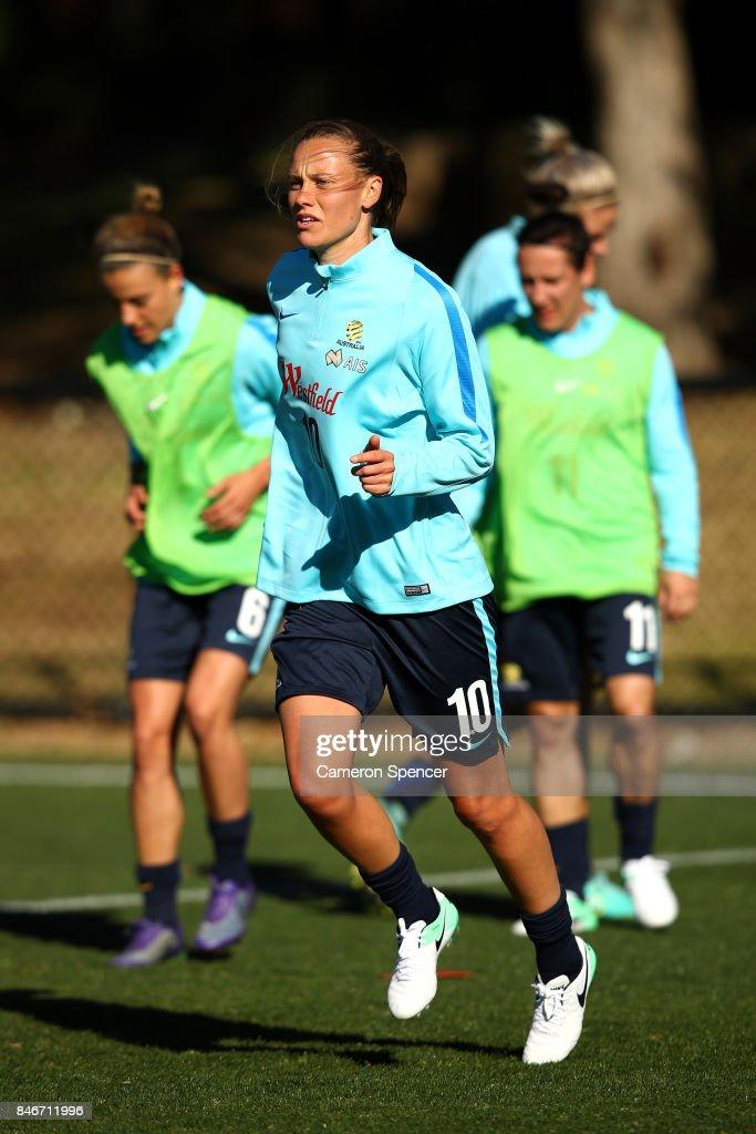 Emily van Egmond of the Matildas warms up during a Matildas training session on September 14, 2017 in Sydney, Australia.