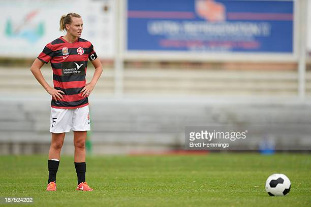 Emily Van Egmond of the Wanderers waits to take a penalty kick during the round one WLeague match between the Western Sydney Wanderers and Adelaide...
