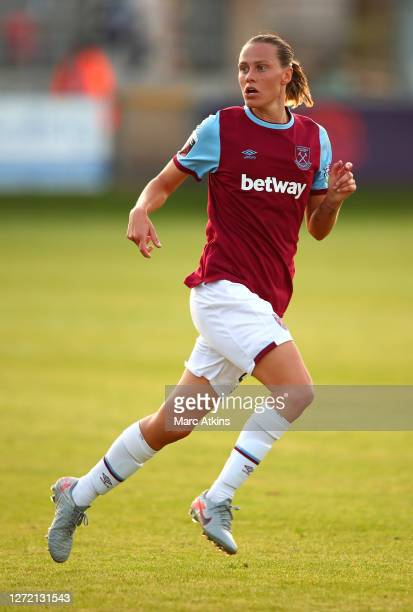 Emily van Egmond of West Ham United runs on during the FA Women's Super League match between West Ham United and Arsenal FC at Chigwell Construction...