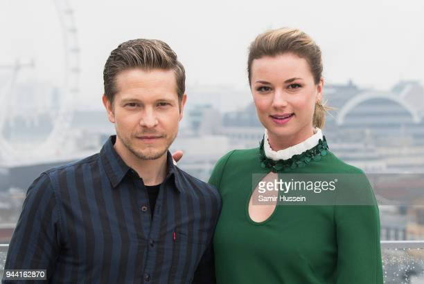Emily VanCamp and Matt Czuchry during 'The Resident' photocall at NBC Universal on April 10 2018 in London England