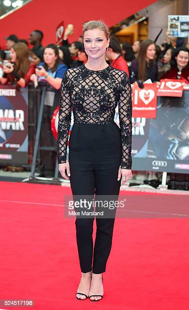Emily VanCamp arrives for European Premiere 'Captain America Civil War' at Vue Westfield on April 26 2016 in London England