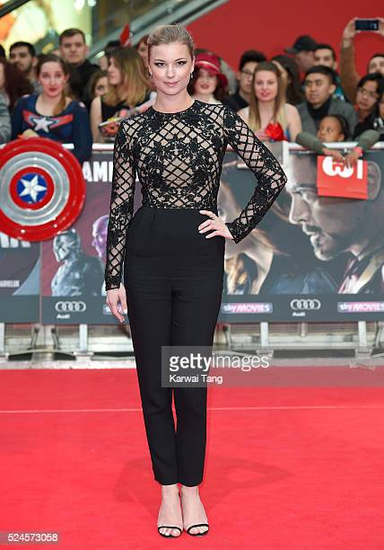 Emily Vancamp arrives for the European film premiere of 'Captain America Civil War' at Vue Westfield on April 26 2016 in London England