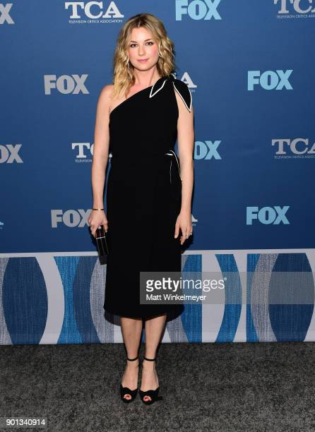 Emily VanCamp attends the FOX AllStar Party during the 2018 Winter TCA Tour at The Langham Huntington Pasadena on January 4 2018 in Pasadena...