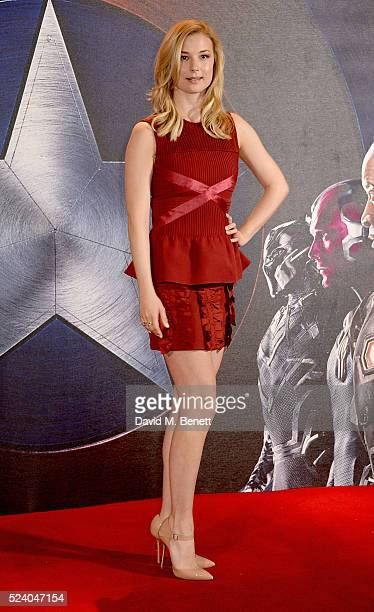 Emily VanCamp poses at a photocall for Captain America Civil War at The Corinthia Hotel London on April 25 2016 in London England