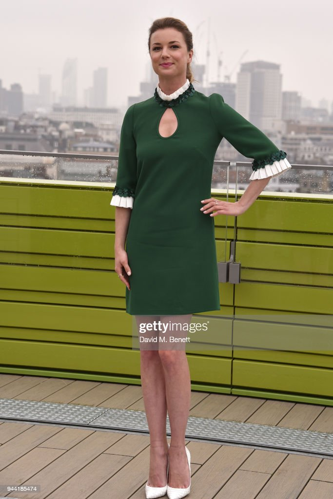Emily VanCamp poses in London to promote their new medical TV drama 'The Resident' on April 10, 2018 in London, England.
