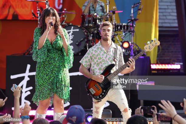 Emily Warren and Andrew Taggart performs on ABC's 'Good Morning America' at SummerStage at Rumsey Playfield Central Park on August 10 2018 in New...
