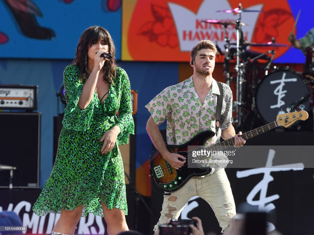 Emily Warren joins Andrew Taggart of the Chainsmokers during their performance live on ABC's 'Good Morning America' at SummerStage at Rumsey Playfield, Central Park on August 10, 2018 in New York City.