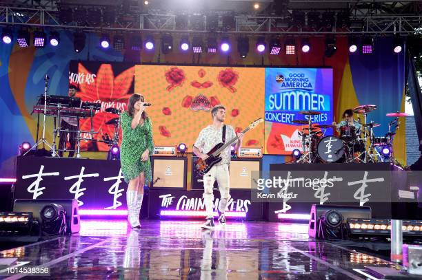 Emily Warren joins Andrew Taggart of the Chainsmokers during their performance live on ABC's 'Good Morning America' at SummerStage at Rumsey...