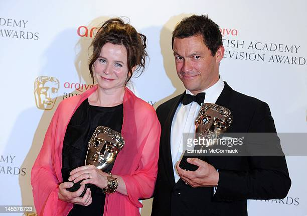 Emily Watson and Dominic West poses backstage at the Arqiva British Academy Television Awards at the Royal Festival Hall on May 27, 2012 in London,...