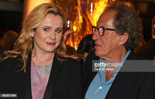 Emily Watson and Geoffrey Rush attend the London Premiere after party for the National Geographic Channel's 'Genius' at Quaglino's on March 30 2017...