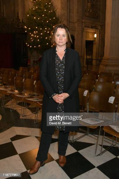 Emily Watson attends the Cancer Research UK St Paul's Carol Concert at St Paul's Cathedral on December 10, 2019 in London, England.