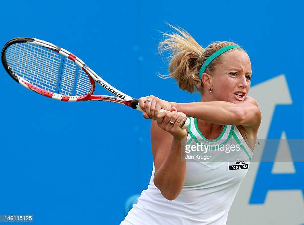 Emily WebleySmith of Great Britain in action during the qualifying round ahead of the AEGON Classic at Edgbaston Priory Club on June 9 2012 in...