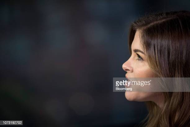 Emily Weiss cofounder and chief executive officer of Glossier Inc speaks during a Bloomberg Technology Television interview in San Francisco...