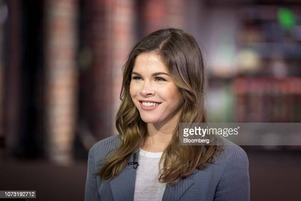 Emily Weiss cofounder and chief executive officer of Glossier Inc smiles during a Bloomberg Technology Television interview in San Francisco...
