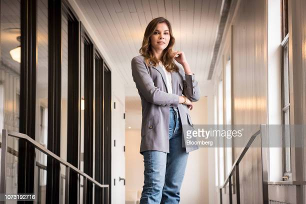Emily Weiss cofounder and chief executive officer of Glossier Inc stands for a photograph following a Bloomberg Technology Television interview in...