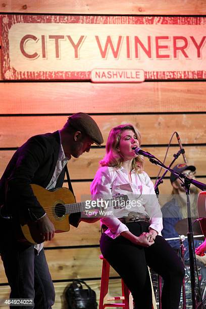 Emily West performs during The Girls of Winter benefit show at the City Winery Nashville on March 1 2015 in Nashville Tennessee