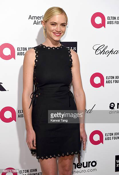 Emily Wickersham attends the Elton John AIDS Foundation's 23rd annual Academy Awards Viewing Party at The City of West Hollywood Park on February 22...
