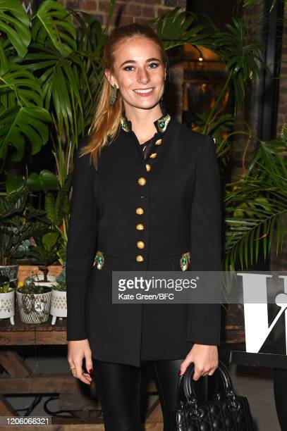 Emily Wright attends the Wolf Badger 10th Year Anniversary party during London Fashion Week February 2020 at Coal Drops Yard on February 13 2020 in...