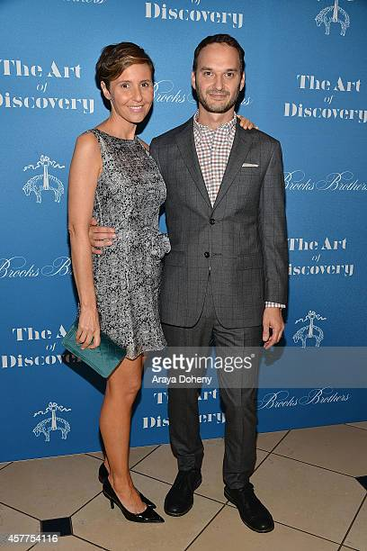 Emily Yomtobian and Jeff Vespa attend the LA launch for Jeff Vespa's new book 'The Art of Discovery' at Brooks Brothers Rodeo on October 23 2014 in...