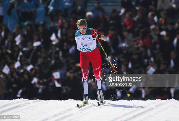 TOPSHOT Emily Young of Canada competes in the women's 15km sprint classic standing crosscountry skiing event of the Pyeongchang Winter Paralympic...