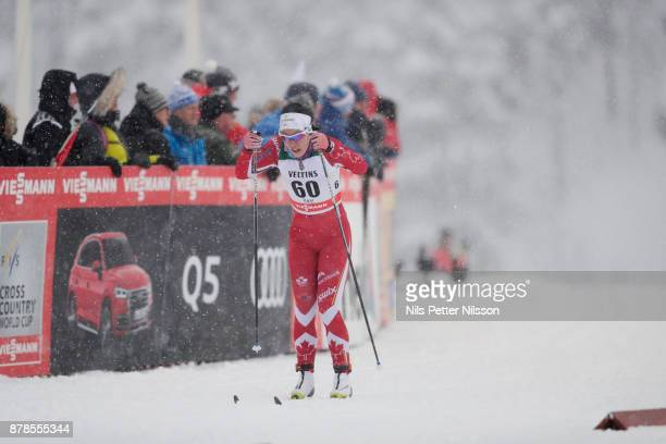 EmilyNishikawa of Canadaduring the cross country sprint qualification during the FIS World Cup Ruka Nordic season opening at Ruka Stadium on...