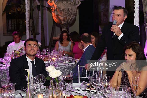 Emin Agalarov, Aras Agalarov and Irina Agalarova attends New Years Eve And Birthday Party For Irina Agalarova at Barton G on December 31, 2014 in...