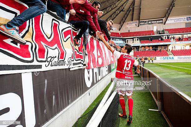 Emin Nouri of Kalmar FF celebrates after the victory to the fans during the allsvenskan match between Kalmar FF and Ostersunds FK at Guldfageln Arena...