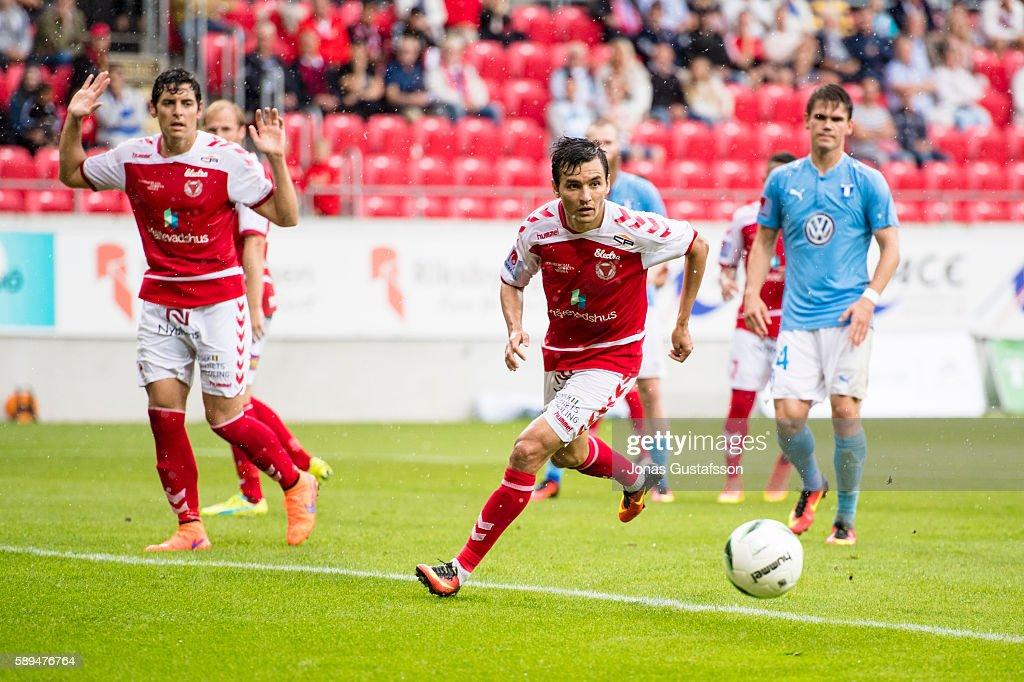 Emin Nouri of Kalmar FF during the Allsvenskan match between Kalmar FF and Malmo FF at Guldfageln Arena on August 14, 2016 in Kalmar, Sweden.