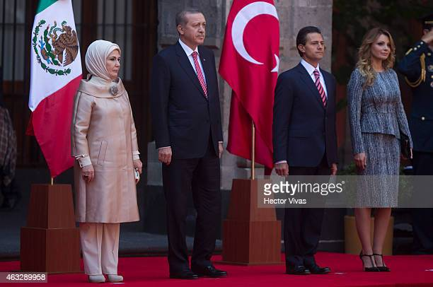 Emine Erdogan first lady of Turkey Recep Tayyip Erdogan president of Turkey Enrique Peña Nieto president of Mexico and Angelica Rivera first lady of...