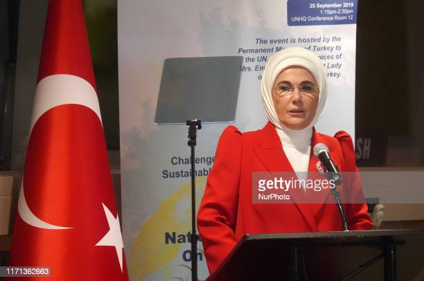 Emine Erdogan the first lady of the Republic of Turkey presented a national Zero Waste Project at a panel on recycling on 25 September 2019 on the...