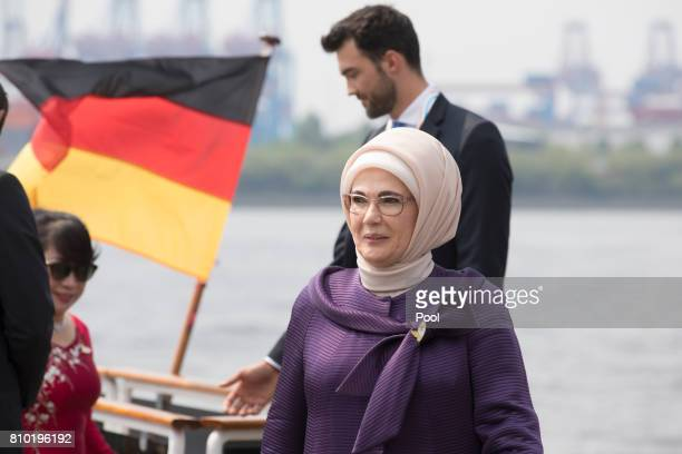 Emine Erdogan wife of Recep Tayyip Erdogan President of the Republic of Turkey leaves the boat 'Diplomat' on the river Elbe as they take part in the...