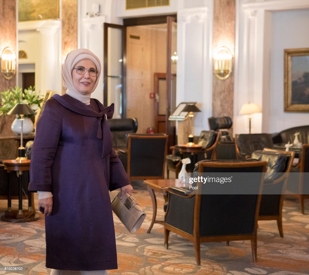 Emine Erdogan, wife of Recep Tayyip Erdogan, President of the Republic of Turkey, walks through the lobby of the Atlantic Hotel as she takes part in the G20 Summit Spouse Programme in Hamburg, Germany, 7th July 2017.