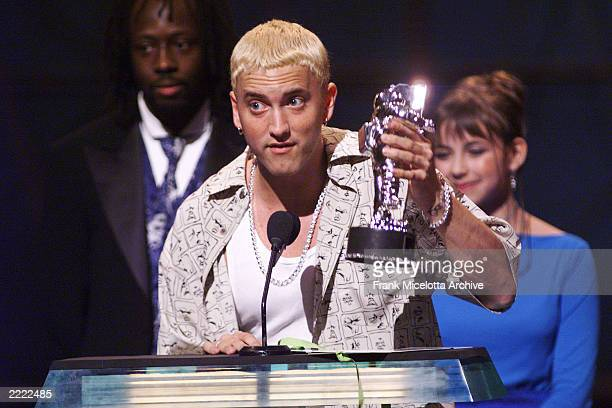 Eminem accepting the award for Best New Artist in a Video at the 1999 MTV Music Video Awards at the Metropolitan Opera House Lincoln Center in New...