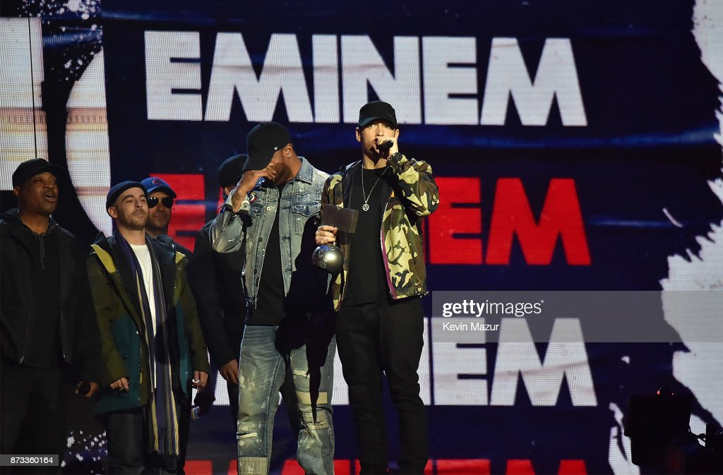 Eminem accepts award on stage during the MTV EMAs 2017 held at The SSE Arena, Wembley on November 12, 2017 in London, England.